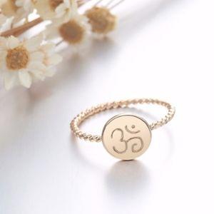 14K Gold Chakra Ohm OM Totem Round Spiral Ring